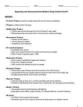 Drama Midterm Study Guide