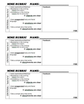 Drama - Mime - RUBRIC (easy to mark!)