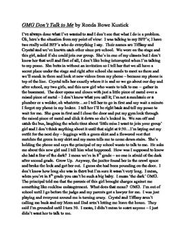 Drama Monologue -- Original work by Ronda Bowe Kustick