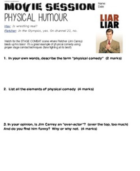 Drama - Movies - Liar, Liar - Worksheet for Physical Comedy