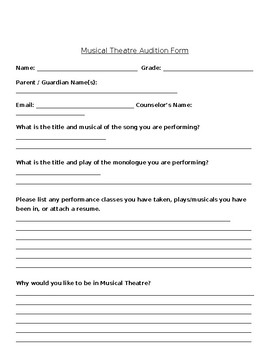 Musical Theatre Class Audition & Teacher Approval Form