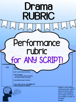 Drama - Performance RUBRIC - works for ANY script! (generic)