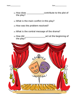 Drama/Play/Theater STAAR Question Stems (Editable)