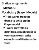 Drama Review station teaching assignments.