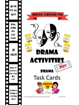 Drama Role Play Task Cards-Games and Activities- 36pc