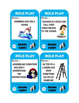 Drama Role Play or WritingTask Cards- Situational Improv-72pc
