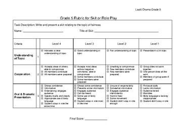 Drama Rubric for Role Playing