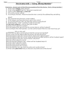 """Drama - """"Sorry, Wrong Number"""" Comprehension Questions"""