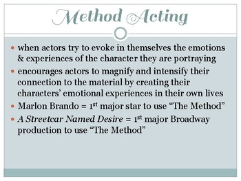 Drama Strasberg Acting Method Powerpoint