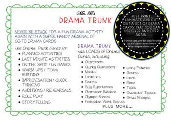 Drama Teaching Resource : SCENE THEMES improv cards and activities