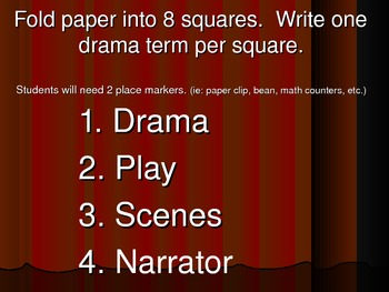 Drama Terms - Bingo type game w/ terms and definitions