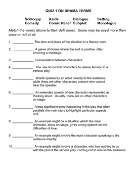 Drama Terms & Plot Structure Sponge Activities