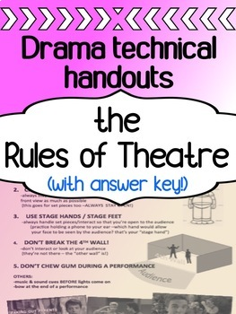 Drama - Technical Theatre for high school - The Rules of Theatre
