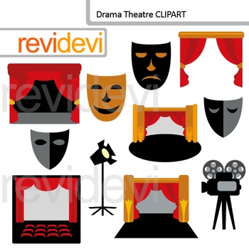 Drama Theatre Clipart - drama class clip art - mask, curtain, proscenium