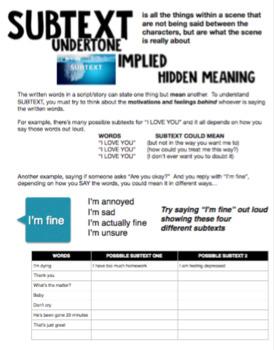 Drama - Understanding a Script - Subtext Handout