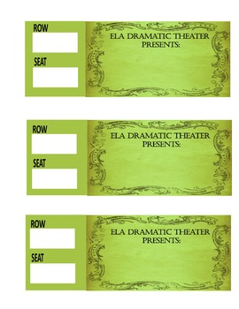 """Drama Unit """"Seating Chart"""" Tickets & Poster"""