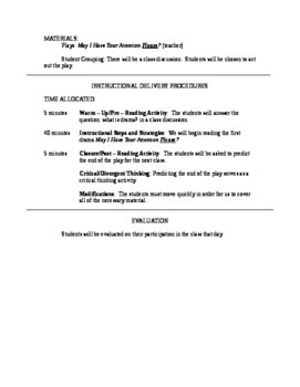 Drama Unit Lesson Plans