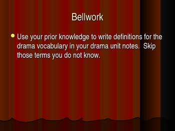 Drama Unit Notes and Terminology