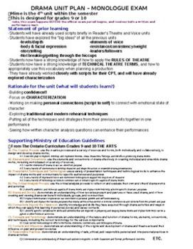Drama - Unit Plan for high school - Monologues - Exam