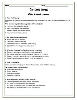 Drama Unit- Script with comprehension questions, plot and elements activity