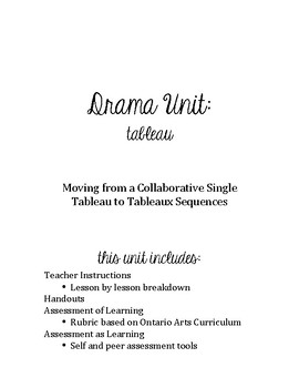 Drama Unit: Tableau - Moving from a Single Tableau to Tableaux Sequence