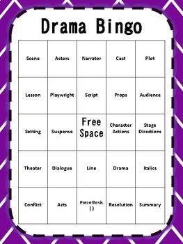 Drama Vocabulary Bingo