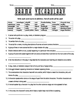 Drama Vocabulary Fill-in-the-Blanks Worksheet