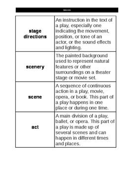Drama Vocabulary Match