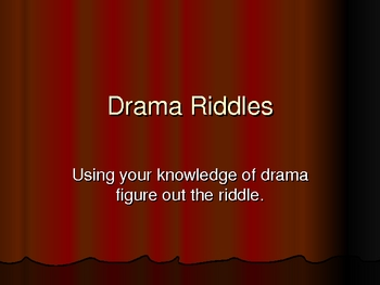 Drama Vocabulary Riddles