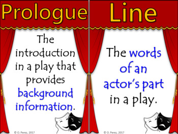 Drama Vocabulary Word Wall - Full Page and Half Page Posters