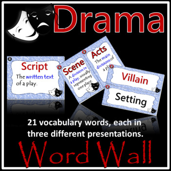 Drama Vocabulary Word Wall - Full Page and Half Page Posters (Color Periwinkle)