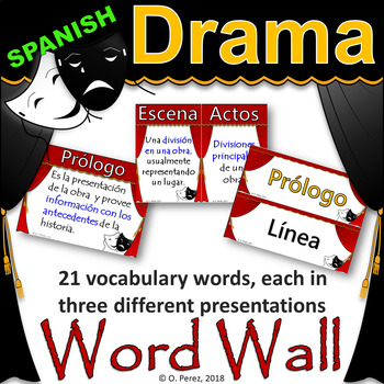 Drama Vocabulary Word Wall (Vocabulario)-Full Page and Half Page Posters-Spanish