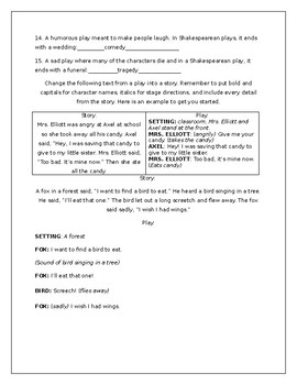 Drama Vocabulary and Formatting Activity