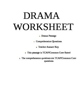 Drama Worksheet