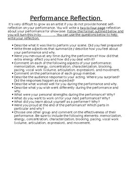 Drama Written Performance Reflection Essay Prompt Assignment