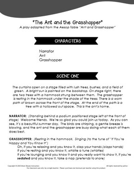 "Drama and Fable Study, ""Ant and Grasshopper"" - Play, Verse, and Prose"