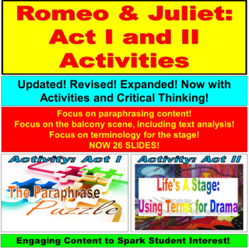 Romeo and Juliet Acts I and II Activities and Stage Terminology