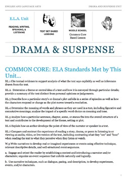 Drama and Suspense Unit: Middle School Common Core - English and Language Arts