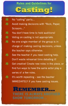Drama or Theatre Class Poster - Casting Guidelines
