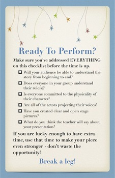 "Drama or Theatre Class Poster - ""Ready to Perform?"" Checklist"