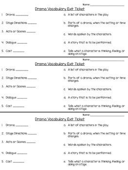 Drama/Play Vocabulary Exit Ticket