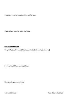 Drama/Theatre Club Survey Sheet