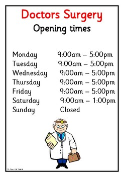 Dramatic Play - Doctors Surgery opening sign