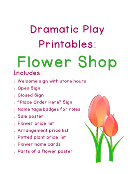 Dramatic Play Flower Shop Printables
