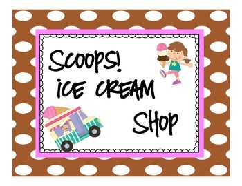 Dramatic Play Ice Cream Shop Pack