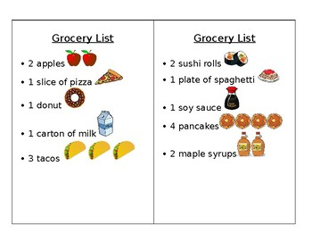 Dramatic Play Kitchen Grocery List