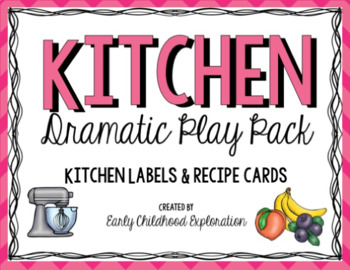 Dramatic Play Kitchen Labels & Recipe Cards