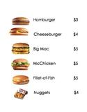 Dramatic Play McDonalds Menu