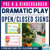 Dramatic Play Open / Closed Signs: Pet Store, Ice Cream, Flower Shop, Toy Store
