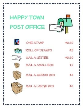 Dramatic Play Post Office Set for Preschool or Kindergarten